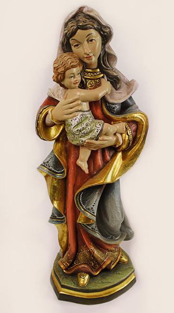 Figur Madonna mit Kind gefasst