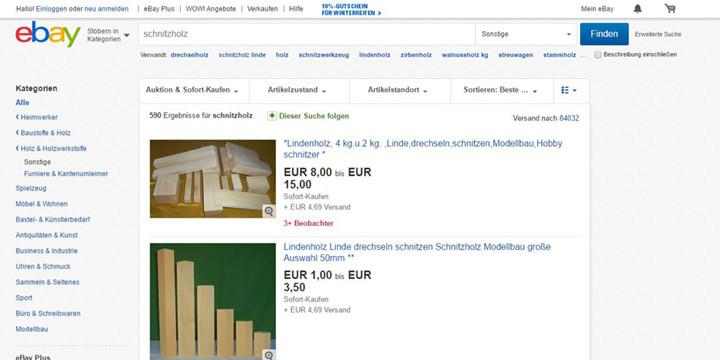 ebay-Schnitzholz-Angebote